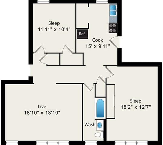 Floor Plan  2 Bedroom 1 Bathroom Floorplan