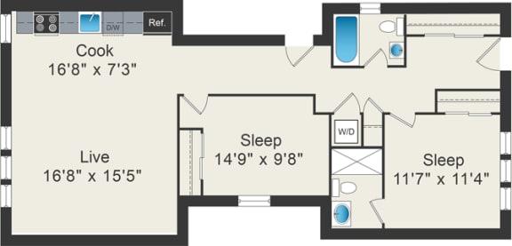 Floor Plan  1 bedroom floor plan at 5425 N Clark Apartments