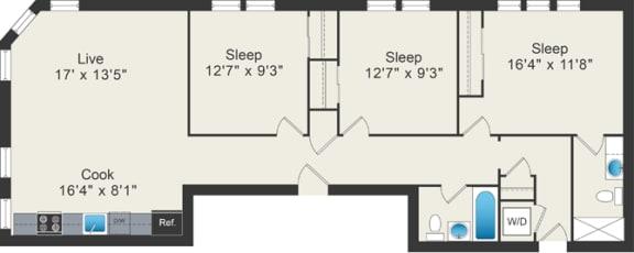 Floor Plan  3 bedroom floor plan at 5425 N Clark Apartments