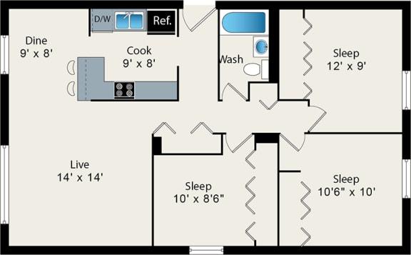 Floor Plan  Three Bedroom Floor Plan at Reside on Barry