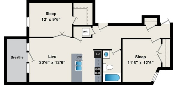 Floor Plan  Two Bedroom Floor Plan at the Belmont by Reside FLATS, opens a dialog.
