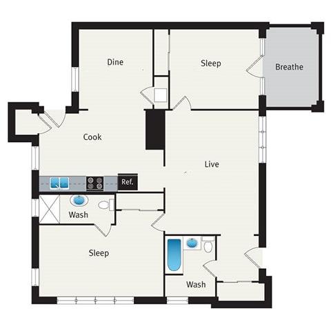 Floor Plan  two bedroom floor plan at reside on irving park