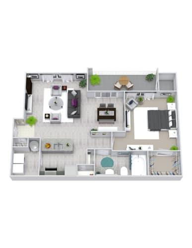 Floor Plan  1 Bedroom, 1 Bath 798 sqft