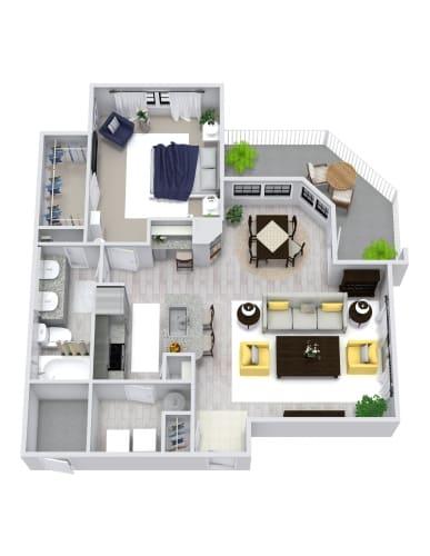 Floor Plan  1 Bedroom, 1 Bath 813 sqft