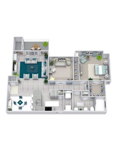 Floor Plan  2 Bedroom, 1 Bath 956 sqft