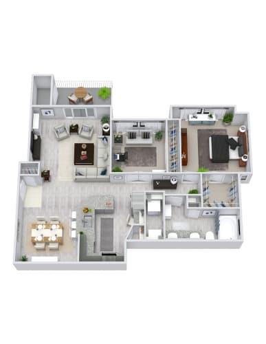 Floor Plan  2 Bedroom, 1 Bath 1016 sqft
