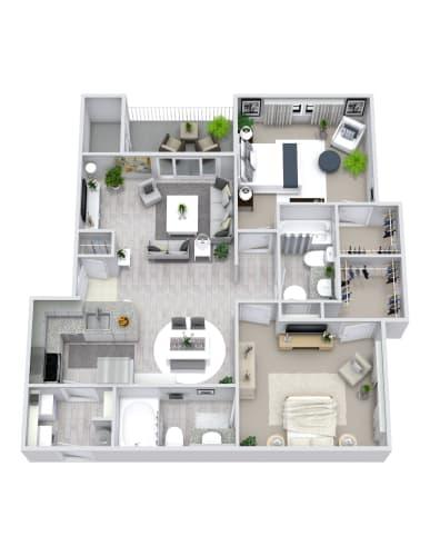 Floor Plan  2 Bedroom, 2 Bath 1000 sqft