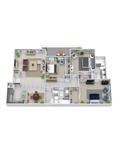 Floor Plan  3 Bedroom, 2 Bath 1355 sqft
