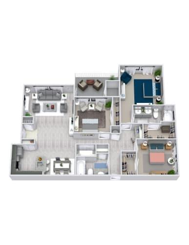 Floor Plan  3 Bedroom, 2 Bath 1436 sqft