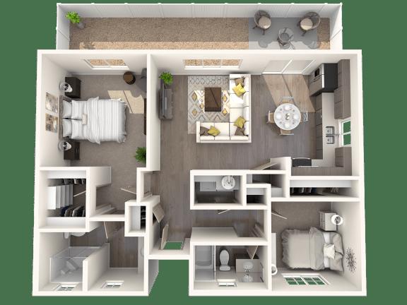 Floor Plan  TG Plan 2 at Parke Place Apartments, P.B. BELL, Prescott Valley, AZ 86314