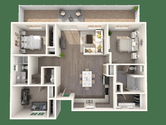Floor Plan  TG Plan 3 at Parke Place Apartments, P.B. BELL, Prescott Valley, Arizona 86314