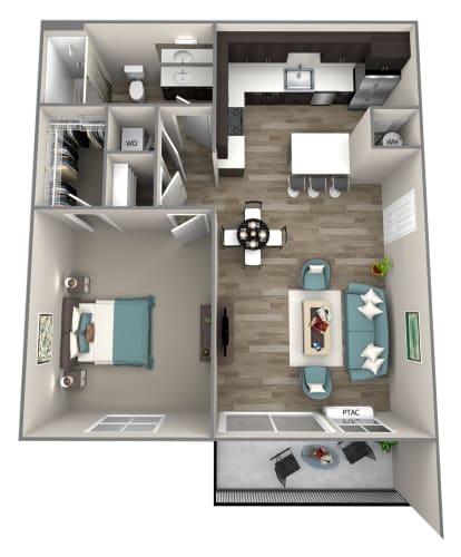 Floor Plan  1 Bed 1 Bath Cortland Floor Plan at Hearth Apartment Homes, Vancouver, WA
