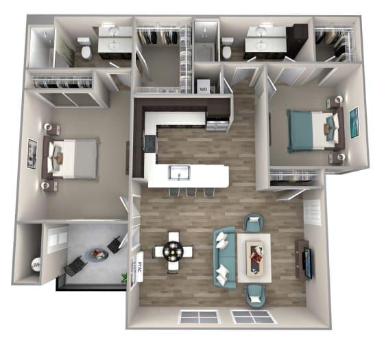 Floor Plan  2 bedroom 2 bath Baldwin Floor Plan at Hearth Apartment Homes, Vancouver, Washington