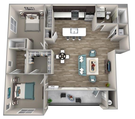 Floor Plan  2 Bedroom 2 Bathroom Braeburn Floor Plan at Hearth Apartment Homes, Vancouver, 98684