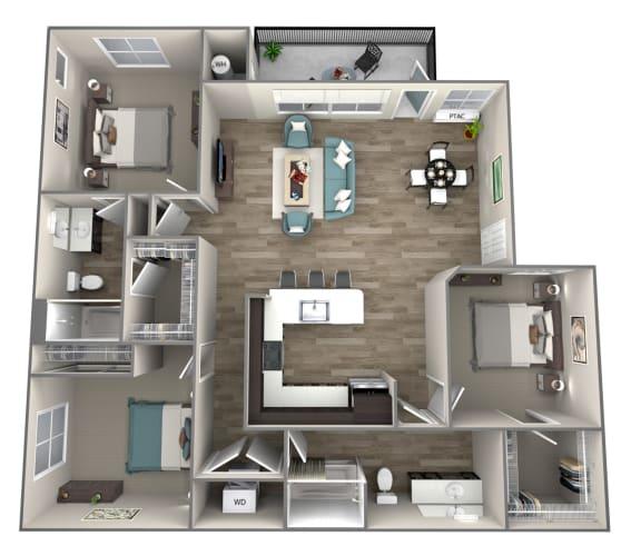 Floor Plan  3 bedroom 2 bath Jonagold Floor Plan at Hearth Apartment Homes, Washington