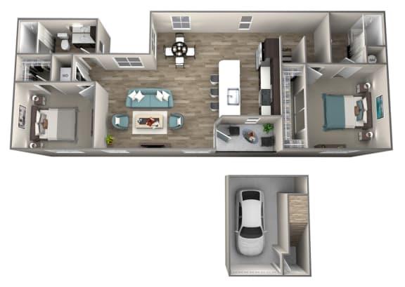Floor Plan  2 Bedroom 2 Bathroom Cameo Floor Plan at Hearth Apartment Homes, Vancouver