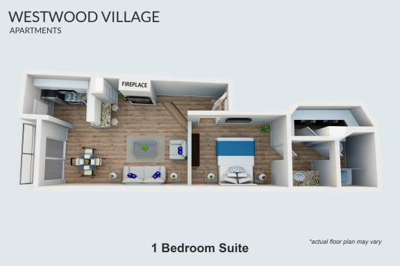 Floor Plan  Furnished - 1 Bedroom Suite (1m)