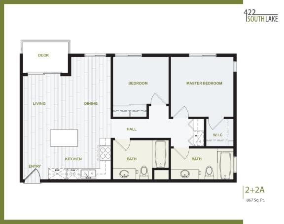Floor Plan  2 Bedroom, 2 Bath