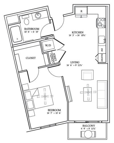 Floor Plan  Aliso A02 691 SF