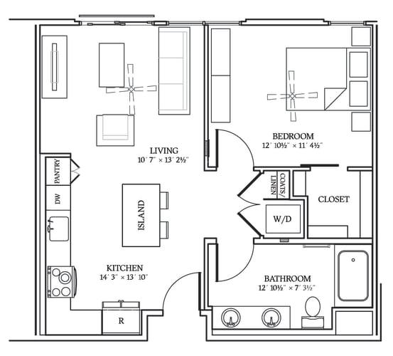 Floor Plan  Aliso A03 693 SF