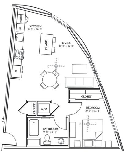 Floor Plan  Aliso A04 719 SF
