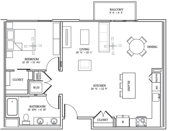 Floor Plan  Aliso A12 962 SF