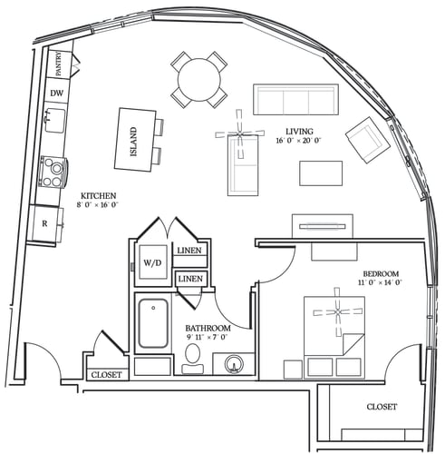 Floor Plan  Aliso A13 978 SF