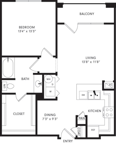 Floor Plan  One-Bedroom Floor Plan A2 | Axis Kessler Park Apartments