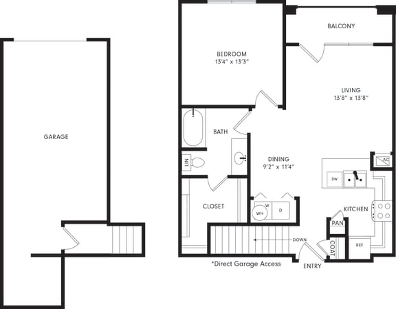Floor Plan  One-Bedroom Floor Plan A2G | Axis Kessler Park Apartments
