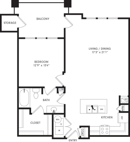 Floor Plan  One-Bedroom Floor Plan A3 | Axis Kessler Park Apartments