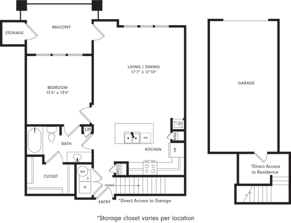 Floor Plan  One-Bedroom Floor Plan A3G | Axis Kessler Park Apartments