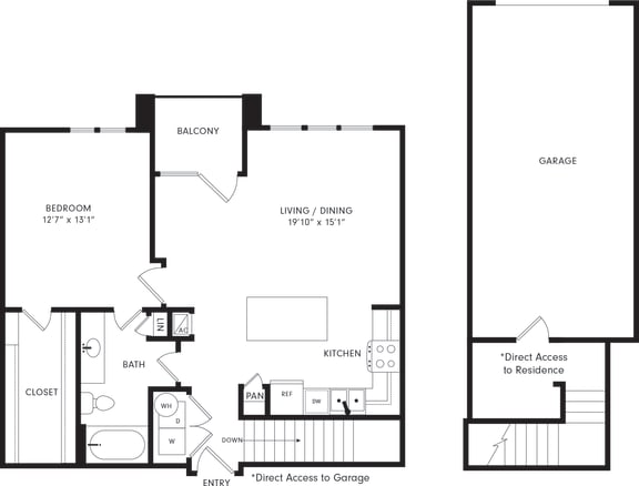 Floor Plan  One-Bedroom Floor Plan A4G | Axis Kessler Park Apartments