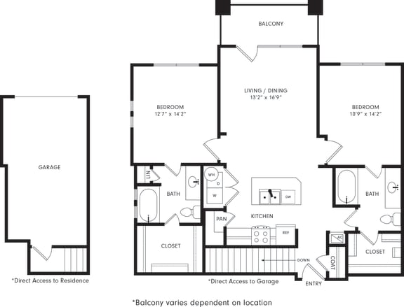 Floor Plan  Two-Bedroom Floor Plan B1 | Axis Kessler Park Apartments