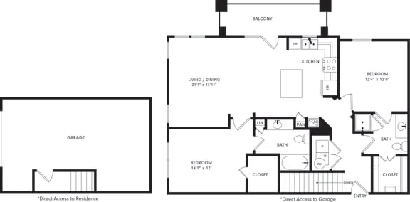 Floor Plan  Two-Bedroom Floor Plan B2G | Axis Kessler Park Apartments