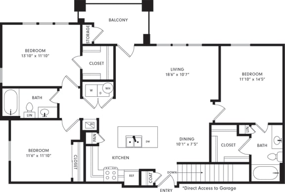 Floor Plan  Three-Bedroom Floor Plan C1G | Axis Kessler Park Apartments