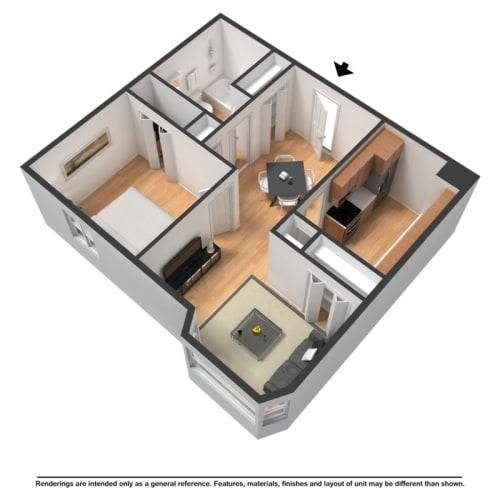 Floor Plan  One bedroom highrise rendering