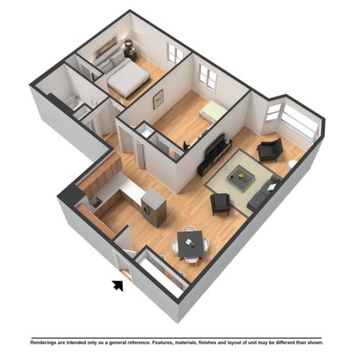 Floor Plan  Two bedroom highrise rendering
