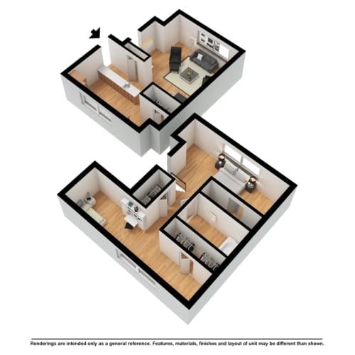Floor Plan  Two bedroom townhome 3d floor plan