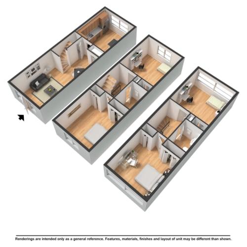 Floor Plan  Four bedroom townhome rendering