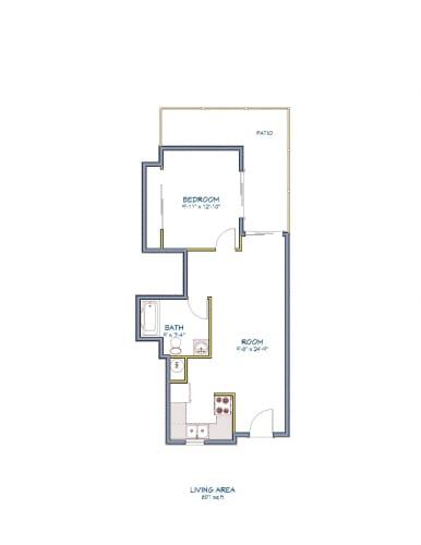 Floor Plan  Monarch Terrace one bedroom one bathroom floor plan