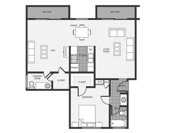 Floor Plan  Mitchell Arms 1 bedroom 1 bathroom with Den