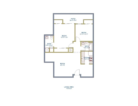 Floor Plan  Monarch Terrace two bedroom two bathroom floor plan