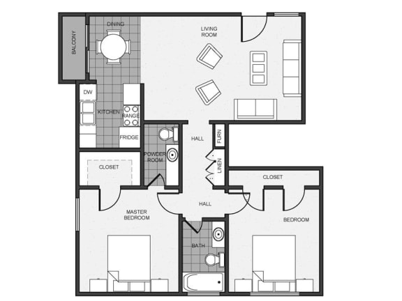 Floor Plan  Mitchell Arms 2 bedroom 1.5 bathroom