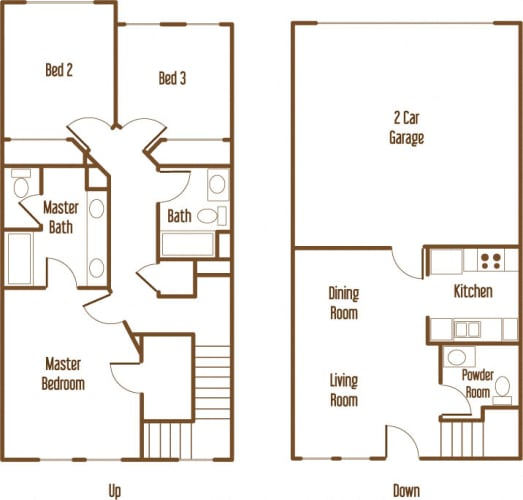 Floor Plan  Parkside Villas 3 bedroom 2.5 bathroom floor plan
