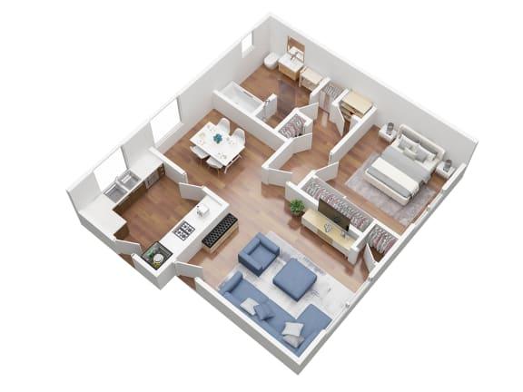 Floor Plan  1 bedroom floorplan 3D