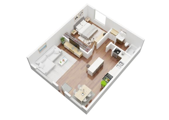 Floor Plan  Chadron Apartments Stilman 1 bedroom floorplan 3d