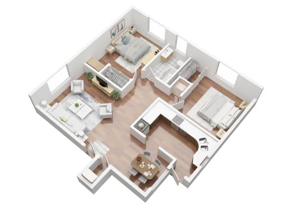 Floor Plan  2 bedroom apartment for rent in Ladera California
