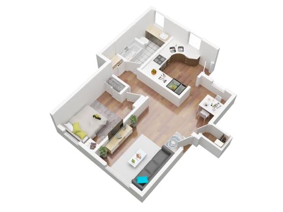 Floor Plan  1 bedroom apartment for rent in Ladera California