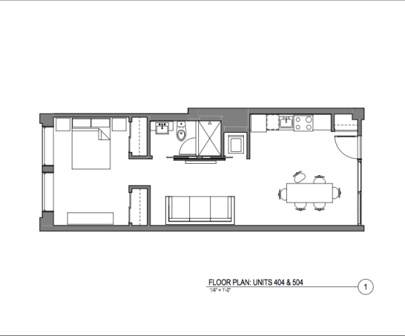Floor Plan  Broadway Lofts 1 Bedroom Floor Plan