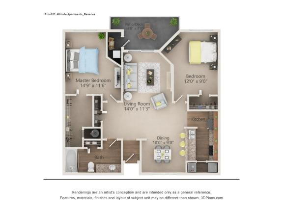 Floor Plan  Reserve Floor Plan The Altitude Blue Ash, Blue Ash, OH